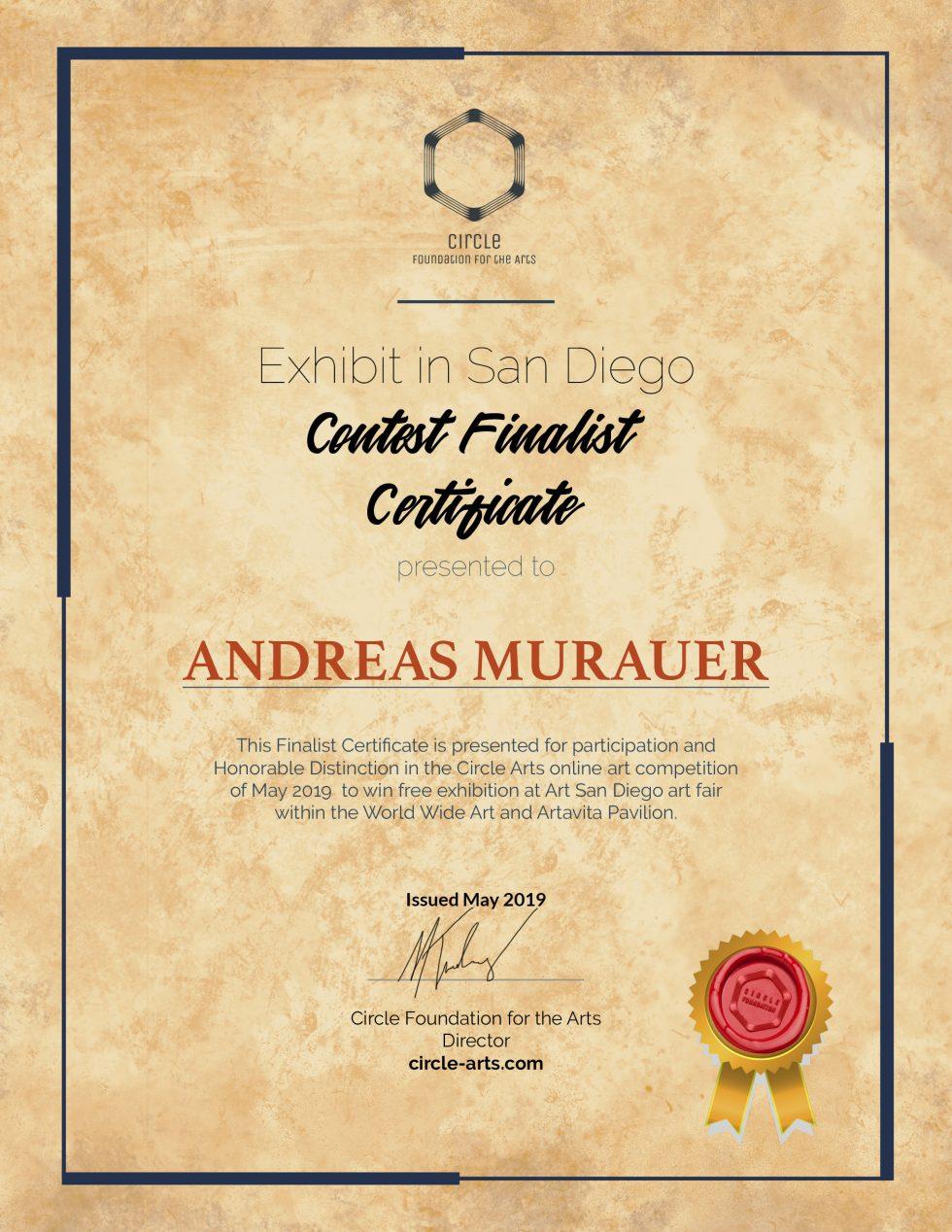 CFA-SanDiegoShow_ContestFinalist_Certificate - Andreas Murauer